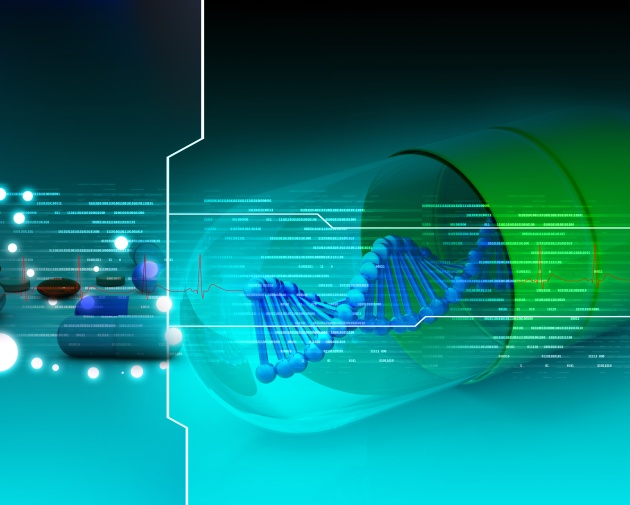 Dna capsule in abstract background