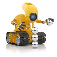 Futuristic robot hold sphere.  Artificial intelligence concept.