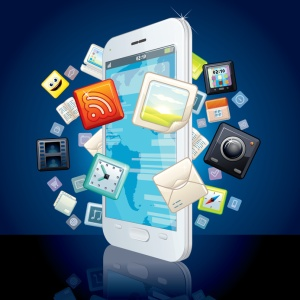 Icons Cloud around Touchscreen Smartphone. Vector Image